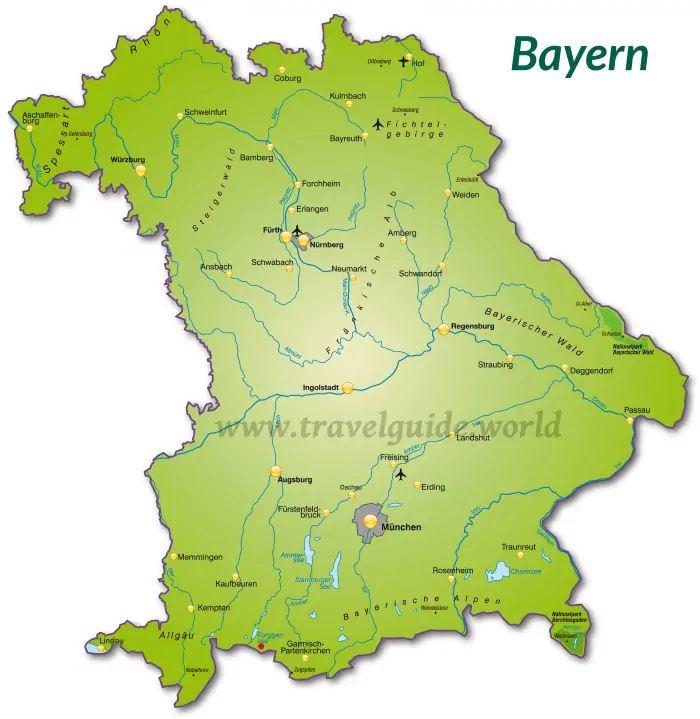 Erlangen Karte Deutschland.Landkarte Bayern Karte Von Bayern Mit Strassenverzeichnis