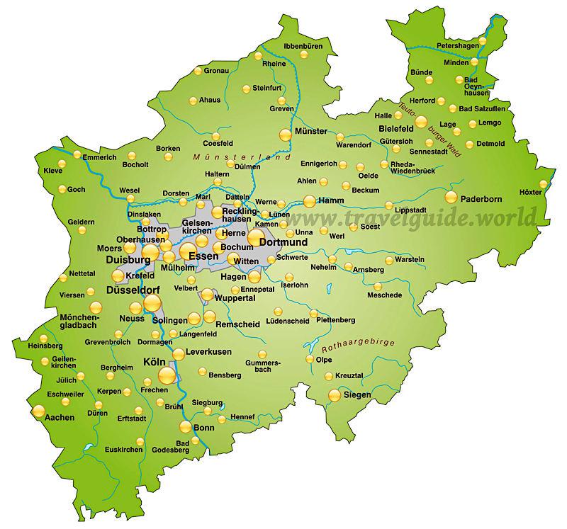 landkarte nrw Nordrhein Westfalen NRW   Urlaub in Deutschland landkarte nrw
