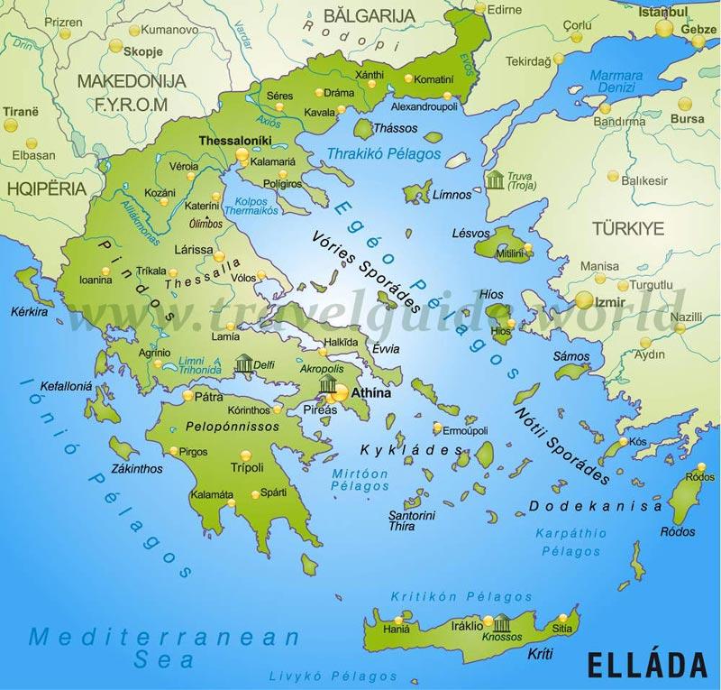 Stumme Karte Griechenland von Stumme Karte - Landkarte fur ...