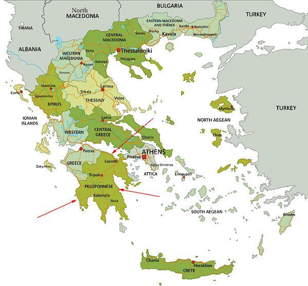 Taufspruch F303274r Karte.Karte Griechenland Peloponnes