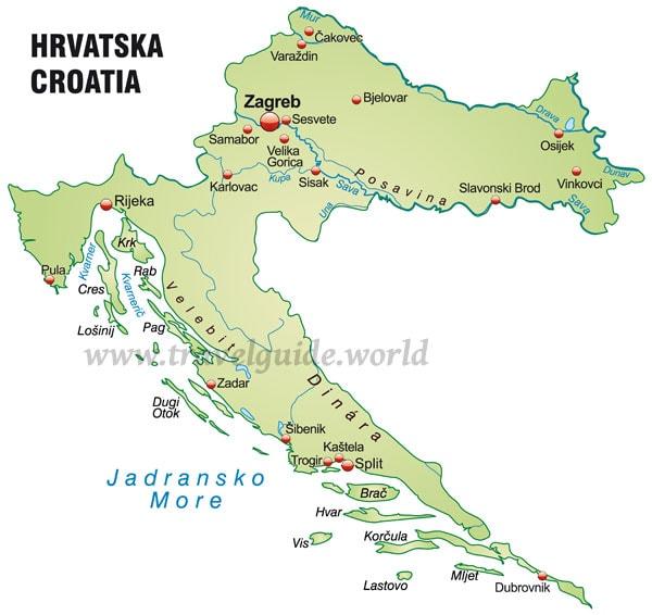 kroatien karte mit st dten my blog. Black Bedroom Furniture Sets. Home Design Ideas