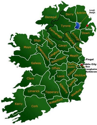 irland grafschaften karte Grafschaften in Irland und Nordirland